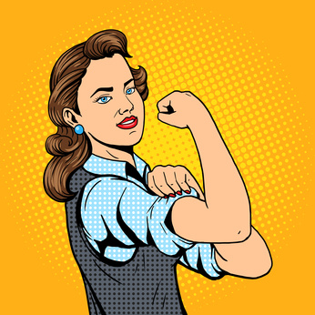 Business woman hand gesture pop art style vector illustration. Comic book style imitation. Conceptual illustration
